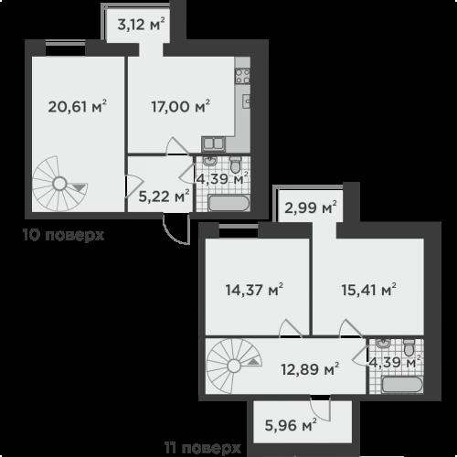 Трикімнатна квартира 106,35 м.кв.