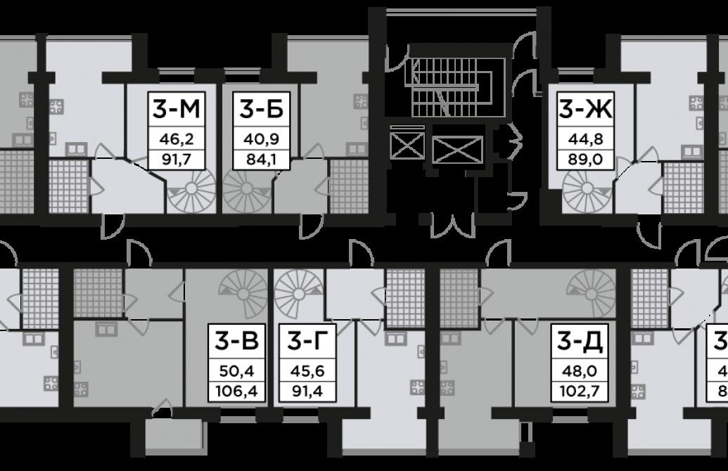 Трикімнатна квартира 89,01 м.кв.