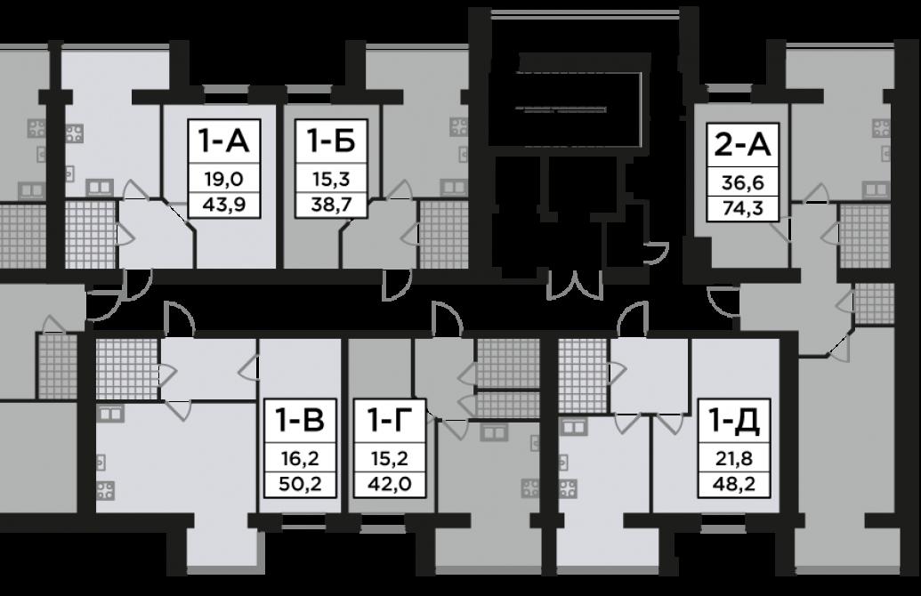 Однокімнатна квартира 48,2 м.кв.
