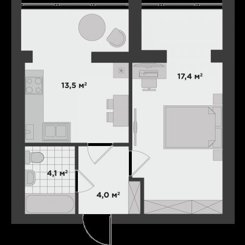 Однокімнатна квартира 40,16 м.кв.