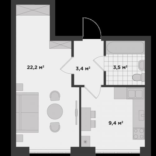 Однокімнатна квартира 38,5 м.кв.