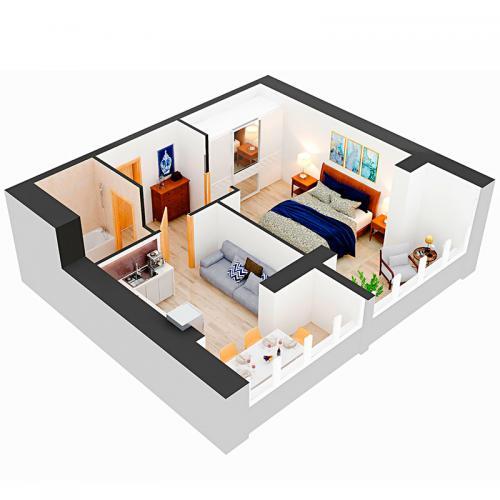 Однокімнатна квартира 50,7 м.кв.