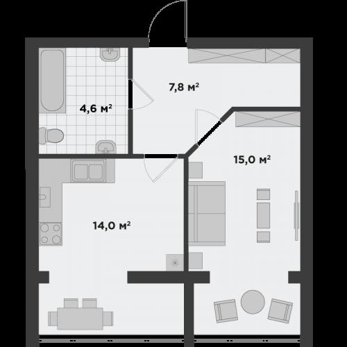Однокомнатная квартира 41,4 м.кв.
