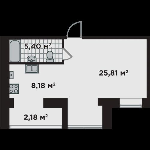 Однокімнатна квартира 43,8 м.кв.