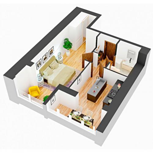 Однокімнатна квартира 45,57 м.кв