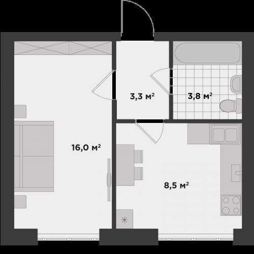 Однокімнатна квартира 31,6 м.кв.