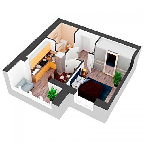 Однокімнатна квартира 39,89 м.кв