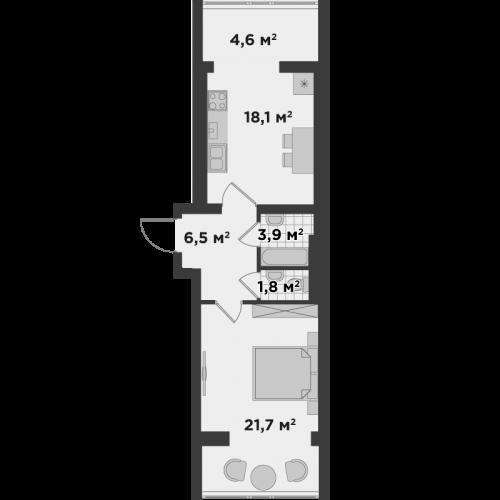 Однокімнатна квартира 56,6 м.кв.