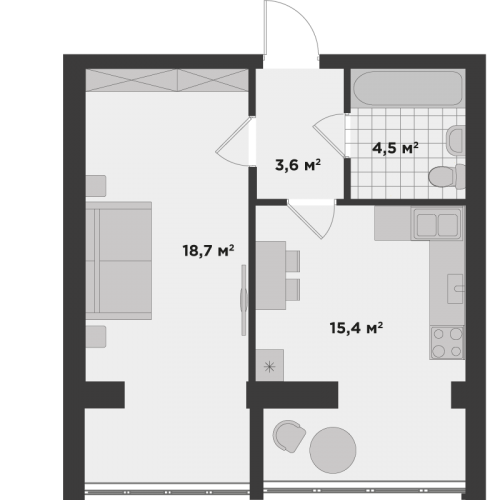 Однокімнатна квартира 42,2 м.кв.