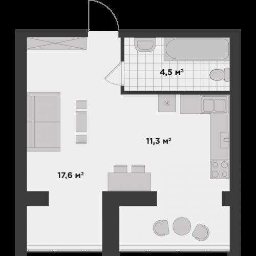Однокімнатна квартира 33,4 м.кв.