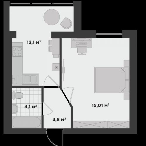 Однокімнатна квартира 36,1 м.кв.