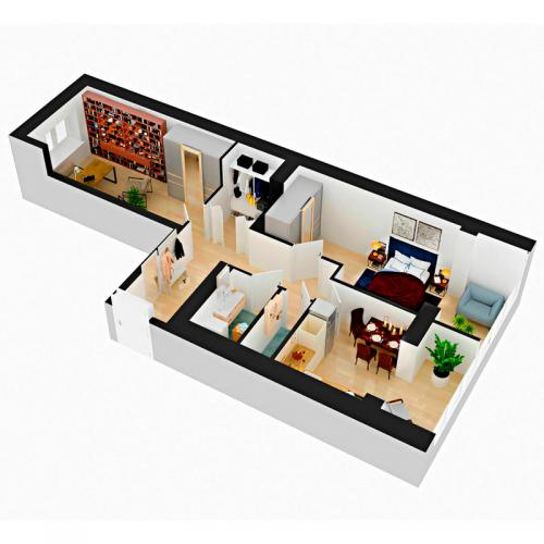 Двокімнатна квартира 66,3 м.кв