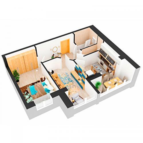 Двокімнатна квартира 59,2 м.кв.
