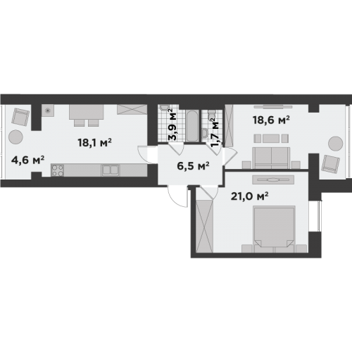 Двокімнатна квартира 74,5 м.кв.