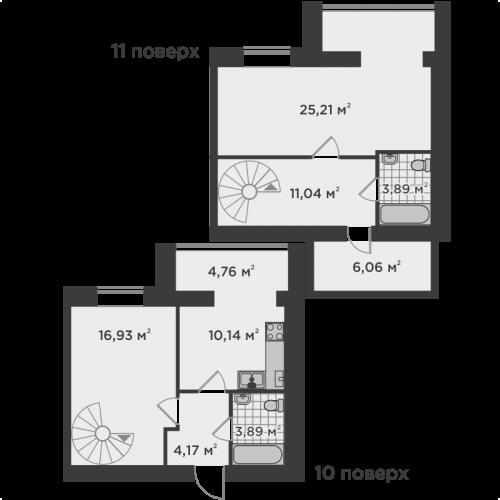 Двокімнатна квартира 86,09 м.кв.