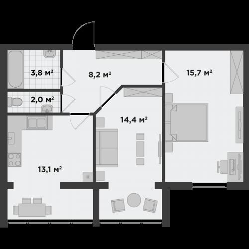 Двокімнатна квартира 57,4 м.кв.