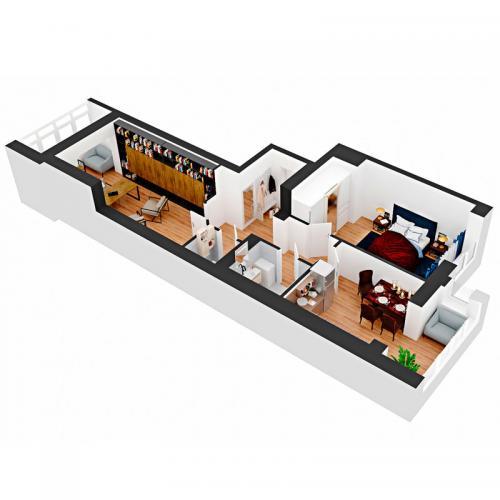 Двокімнатна квартира 74,3 м.кв.