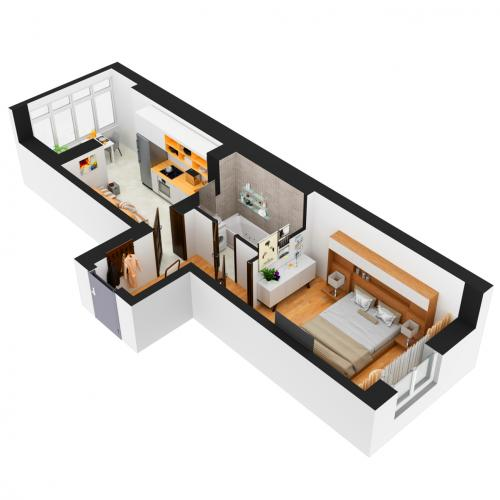 Однокімнатна квартира 40,92 м.кв.