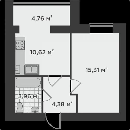 Однокімнатна квартира 39,03 м.кв.