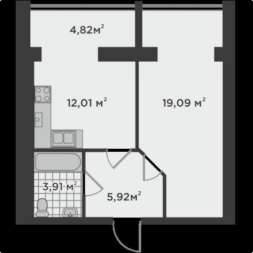 Однокімнатна квартира 45,75 м.кв.