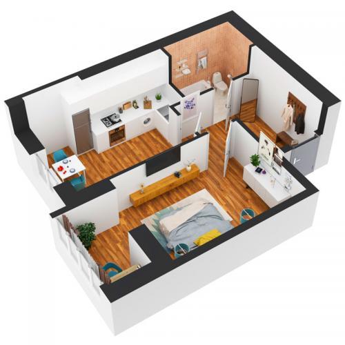 Однокімнатна квартира 43,42 м.кв.