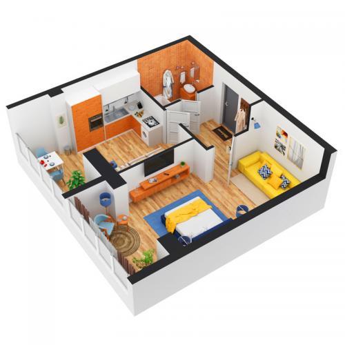 Однокімнатна квартира 51,70 м.кв.