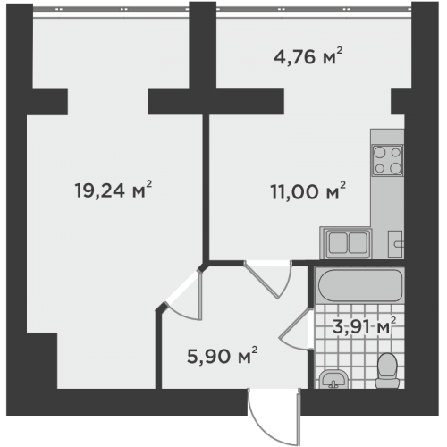 Однокімнатна квартира 44,81 м.кв.