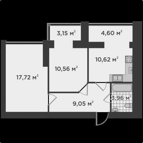Двокімнатна квартира 59,66 м.кв.