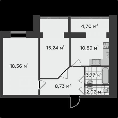 Двокімнатна квартира 63,91 м.кв.