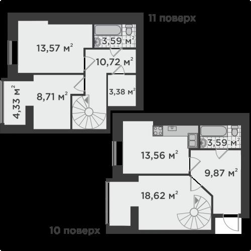 Трикімнатна квартира 81,53 м.кв.