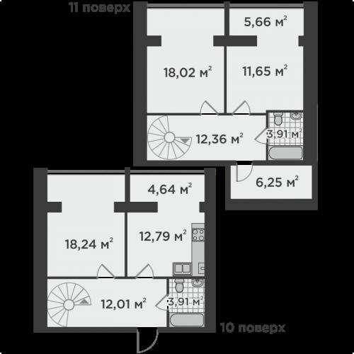 Трикімнатна квартира 109,05 м.кв.