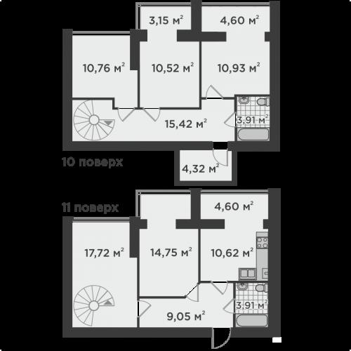 П'ятикімнатна квартира 119,66 м.кв.