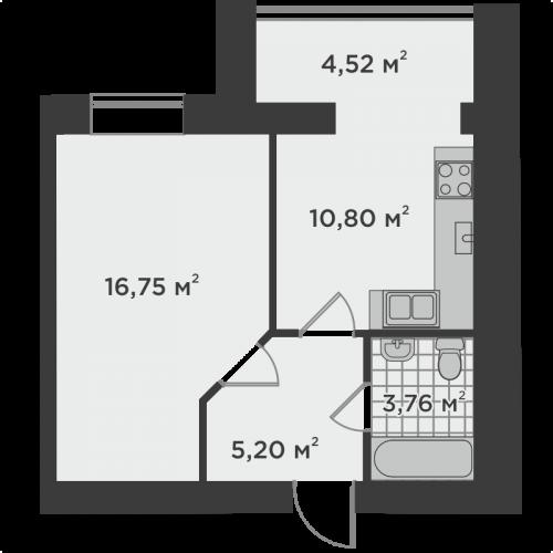 Однокімнатна квартира 40,87 м.кв.