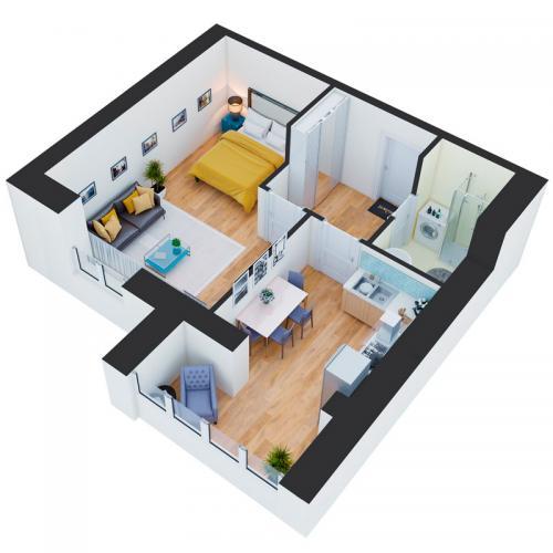 Однокімнатна квартира 48,41 м.кв.