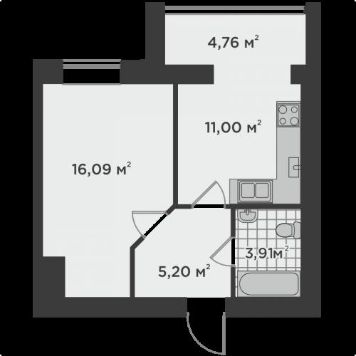 Однокімнатна квартира 40,96 м.кв.