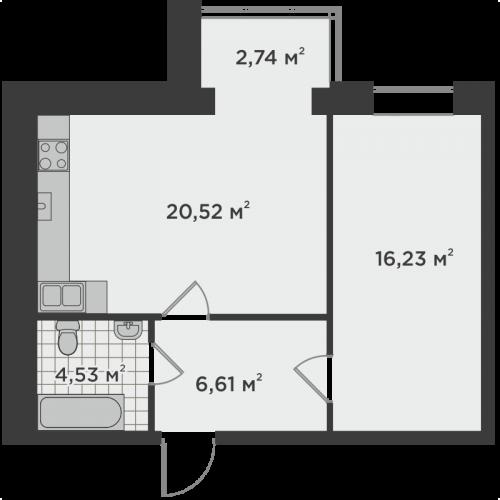 Однокімнатна квартира 50,63 м.кв.