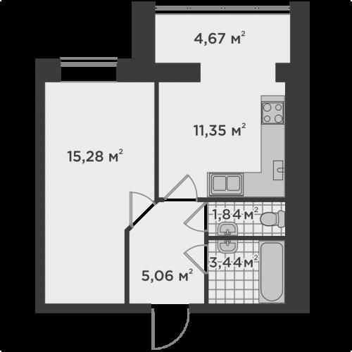 Однокімнатна квартира 41,64 м.кв.