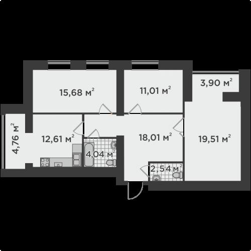Трикімнатна квартира 92,06 м.кв.