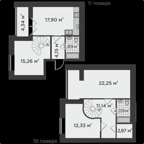 Трикімнатна квартира 98,22 м.кв.