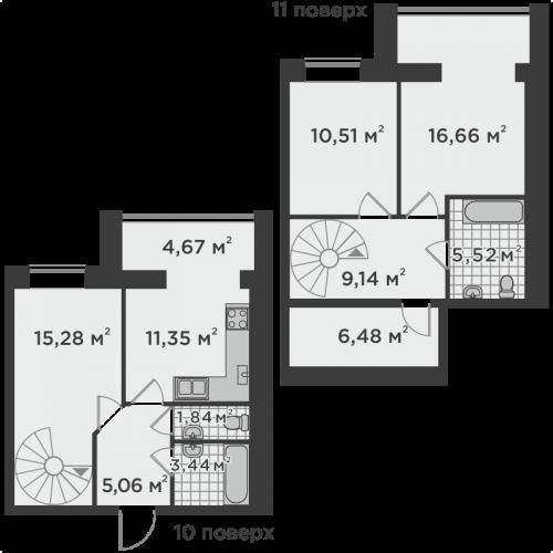 Трикімнатна квартира 89,95 м.кв.