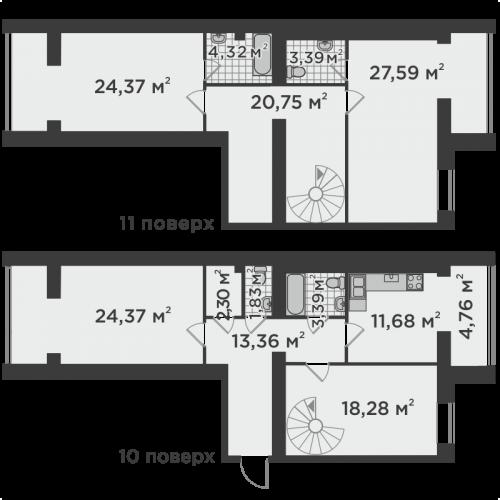 Чотирикімнатна квартира 160,25 м.кв.