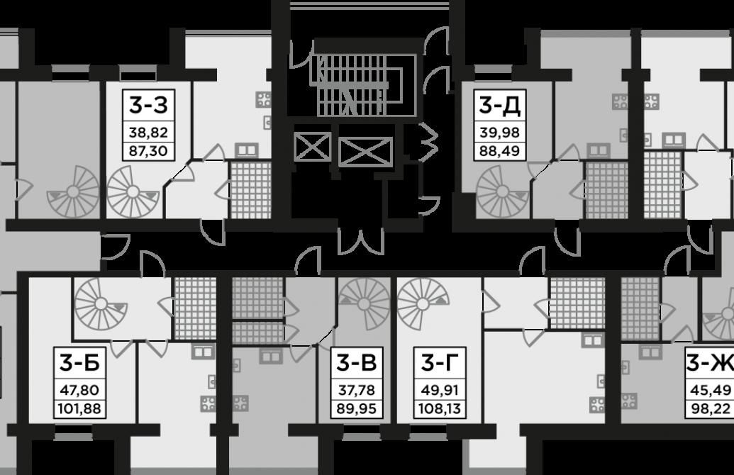 Трикімнатна квартира 88,49 м.кв.